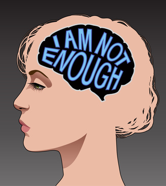 "Woman with low self esteem depicted by a mind thinking ""I am not enough"""
